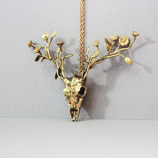 Golden Deer Flowers Antler Necklace Charm / Contemporary Art Rock Jewelry / Brass Metal Work Pendant