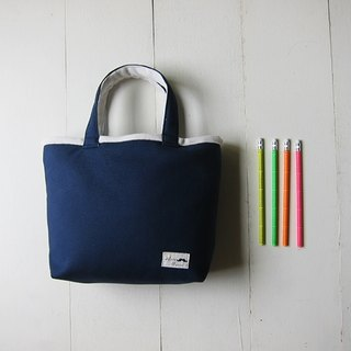 Macaron Series - Small Canvas Tote (navy blue + cream)