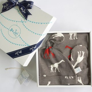 gujui Organic Cotton Gift Set - (Pants + Cap) - Love Giraffe (Gray)