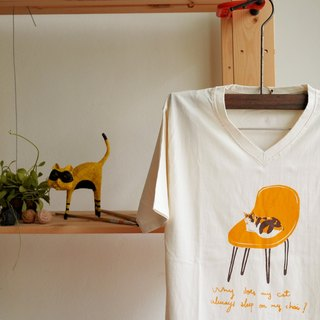 T shirt V neck cotton calico cat hand print with brown and orange color