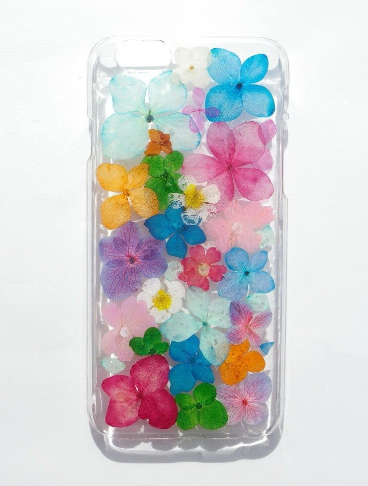 Anny's workshop hand-made pressed flower phone case, colorful hydrangeas