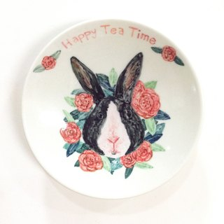 Rabbit treasure camellia wreath - [customizable name] animal painted saucer