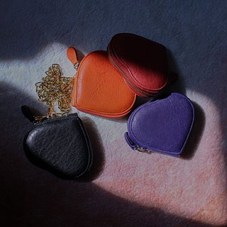LOVE MSG PURSE warm orange leather purse - - Gifts
