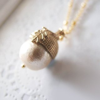 Cotton pearl - Autumn's Pine Nut Necklace