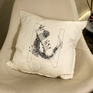 [N] ewt salamander: letters painted pillow