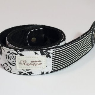 Silhouette Rose (Black) 38mm Handmade Camera strap GF/NEX/DLSR/M43 Customizable