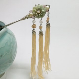 Tung Kee Ling set decoration - pull Tianhua {} natural emerald jade Verdant orange gray moonstone moonstone rose quartz baroque pearls hand-made brass classical antiquity Bob hair plug hairpin