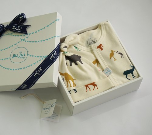 gujui Organic Cotton Gift Box - (with body suit + cap) - love animal