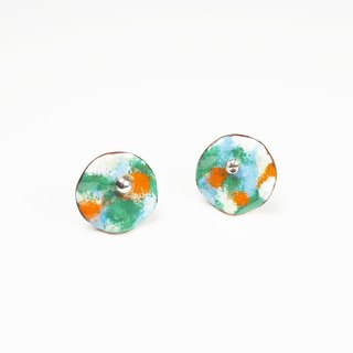HinduLotus II Spring bearing enamel earrings (Monet garden a new color)