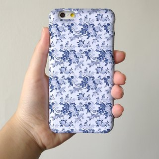 Blue Floral pattern 3D Full Wrap Phone Case, available for  iPhone 7, iPhone 7 Plus, iPhone 6s, iPhone 6s Plus, iPhone 5/5s, iPhone 5c, iPhone 4/4s, Samsung Galaxy S7, S7 Edge, S6 Edge Plus, S6, S6 Edge, S5 S4 S3  Samsung Galaxy Note 5, Note 4, Note 3,  No