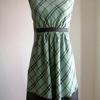 Small lozenge stitching dress - Green