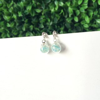 *Haku‧Neko*mint green wave mini glass beads ball earrings