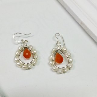 Kee Ling Tong set decoration - Name of the Rose} {hold light natural light jade Sui natural pearl earrings US-made copper