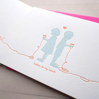 Listen to My Heart - Letterpress Love Card - A Journey of Love