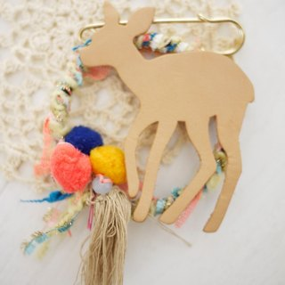 Forest deer leather lapel pin