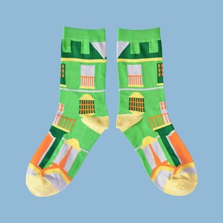 Street Bar Green Unisex Crew Socks | mens socks | womens socks | colorful socks