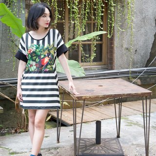 Tropical  Striped Dress |Parrot