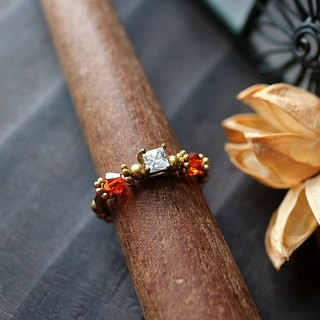 EF golden years NO.186 zircon crystal elegant wine red brass ring tail ring foot ring
