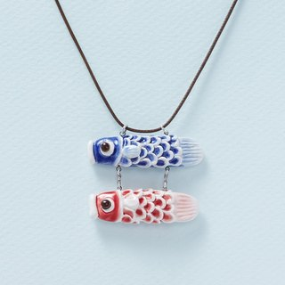 鲤 and me - small hand made white porcelain necklace - red blue