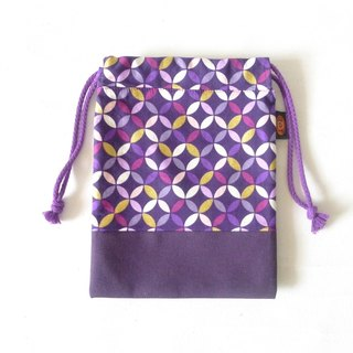 ✎ Japanese pattern totem | Drawstring / 3C bag / Universal Bag | purple | Small