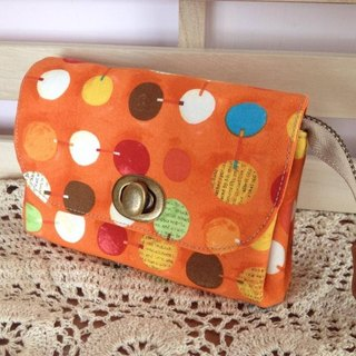 ﹝ Clare ﹞ handmade cloth colorful orange dot Clutch
