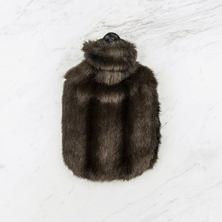 KATRIN LEUZE cold artificial fur hot water bottle - dark coffee