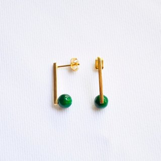 ∥Cheng Jewelry∥ Geometric accessories Dot line-Malaysia jade stud earrings / ear clip