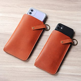 [DOZI leather hand-made] hanging neck phone cover with leather hanging neck leather cord leather for the dyeing production free color sample picture is black