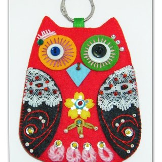 Owl card holder - red and black