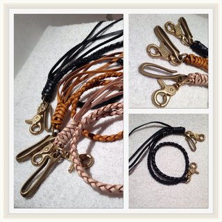 Hand-woven leather Copper Belt hook (color can be customized printing free)
