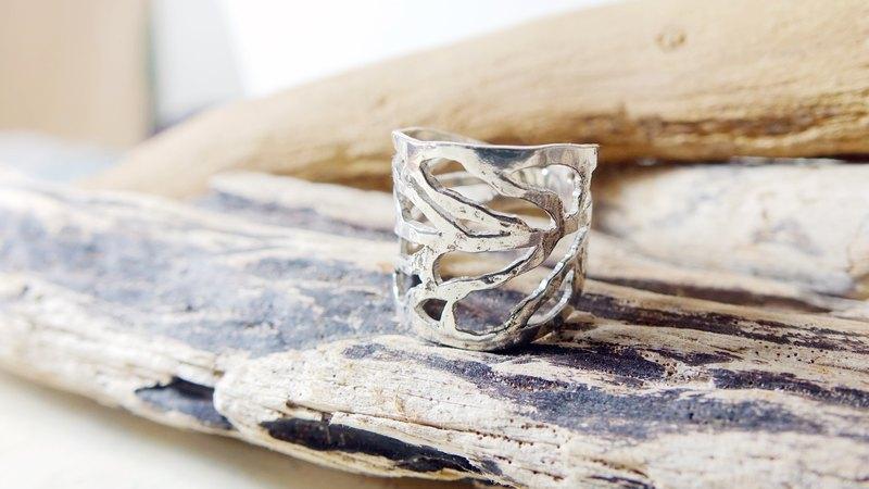 【 鏤空葉子戒指 】手工 925 純銀 鏤空 葉子 戒指