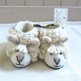 Warm indoor shoes / births ceremony British sew heart felt grazing sheep wool felt shoes - Shirley sheep