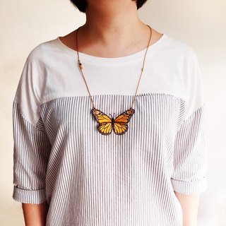 Embroidery Butterfly Necklace / Monarch Butterfly