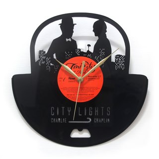 [Time traveler 1888] vinyl clock. City of Light - Chaplin [Charles Chaplin-City Lights]