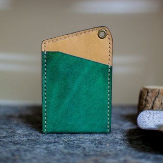Leather handmade leather play both sides of the color-color sets of documents (without strap) _ Green + Yellow