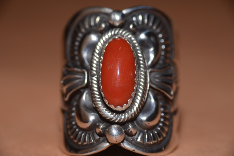 NAVAJO sterling silver rings red coral rings, hippie, Harley, heavy machinery, American, Indian