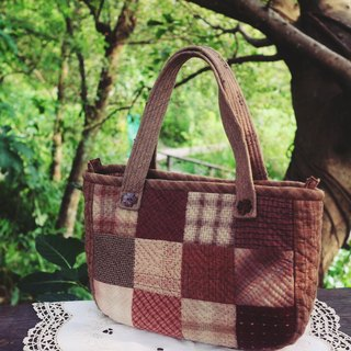 Handmade - Patchwork bag checkered pressure line (red)