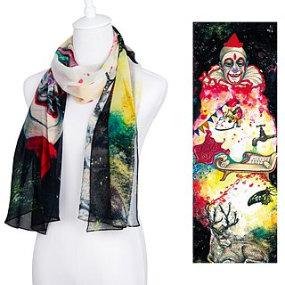 Clown long silk scarf