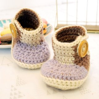 Handmade knit baby shoes - hit the color long-barreled shoes (shoes purple flour)