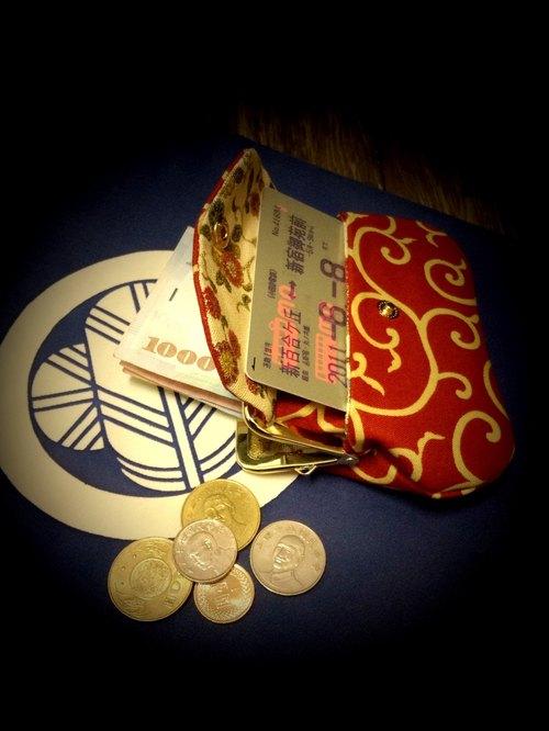 h666amaayazhoushipin_和风口袋包-唐草纹柄(红) - 京都奈口金包gamakuchi