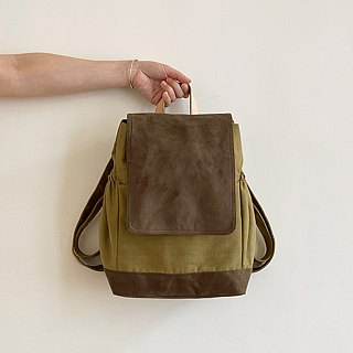 Handmade coffee green cotton cloth decorated with leather backpack