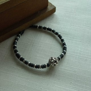 ~ M + Bear ~ hollow series hollow ball 925 sterling silver bracelet braided silk thin wax Bracelet