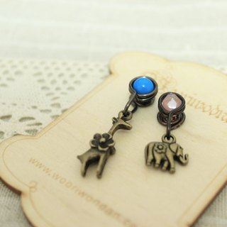 Wing Wing Hand-made jewelry accessories bronze retro clip earrings made (Zoo)