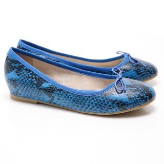 [Saint Landry] LAND serpentine bow ballet shoes (Blue)