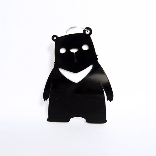 I Love Zoo - Black Bear Papa Acrylic Keyring - Single Sided