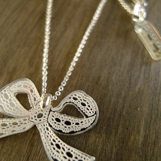 Shadow * silver Lace Series_ bowknot sterling silver necklace Christmas exchange gift