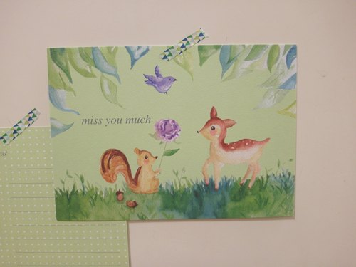 * Zoe's forest * Green Forest squirrel Fawn Postcard (cs23)
