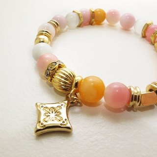 Pink and yellow ring ore bracelet