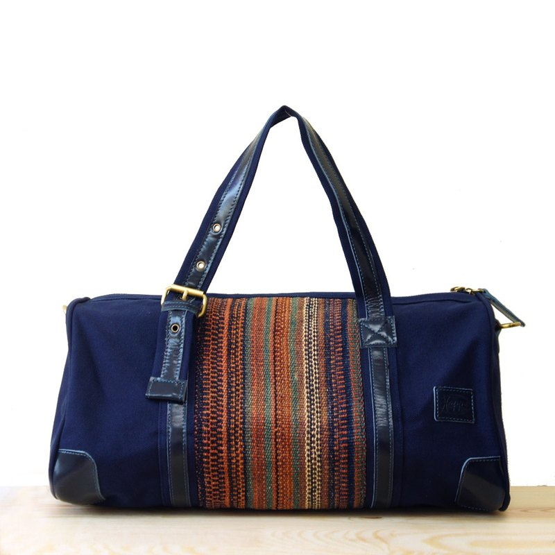 [Happa] will style bag - Belt Long put - hand-knotted kilim paragraph (Navy Navy) large-capacity national air bags