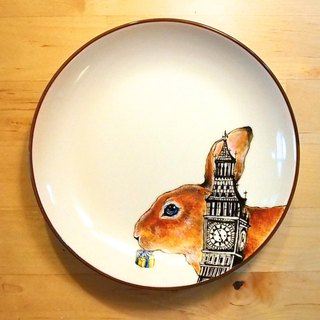 Wall hanging decorative plate / dessert plate series - London Rabbit is also crazy